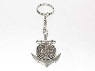 1961 Sixpence Anchor Keyring for 57th Birthday Gift boxed