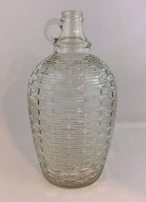 Vintage One Gallon Clear Glass Jug With Handle Embossed Basket Weave Pattern