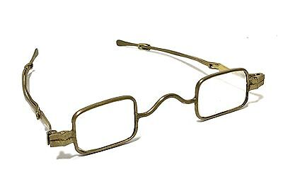 Antique Victorian Pre Civil War Eyeglasses Rectangular Adjustable Lenses