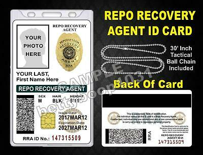 Repo Recovery Agent ID Card / Badge  Custom With Your Photo & Info  Repossession