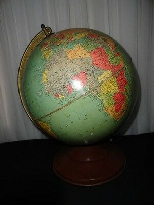 "VINTAGE 1958 REPLOGLE 12"" REFERENCE WORLD GLOBE 1950's METAL STAND"