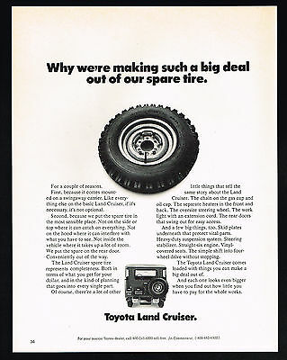 1972 Toyota Land Cruiser 4WD Photo Spare Tire Big Deal Vintage Print Ad
