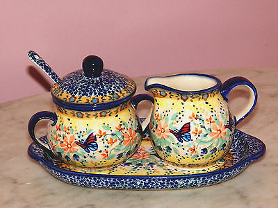 Genuine UNIKAT Polish Pottery Cream And Sugar 4 PC Set! Butterfly Summer!