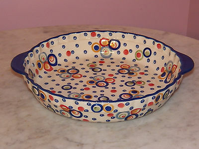 Genuine Hand Made Polish Pottery Deep Dish Pie Baker! Happy Happy Pattern!