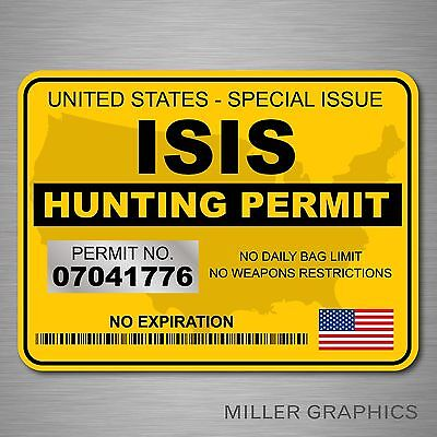 "ISIS Terrorist Hunting Permit Decal Bumper Sticker Military (Yellow) - 3"" x 4"""