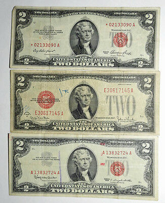 US 1928, 53, 63 Red Seal 2 Dollar Money Notes 1 Star 6 Total 2 Pages VF-EF
