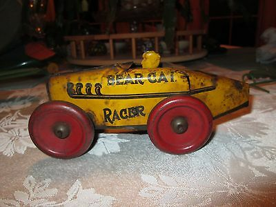 Early Original Bearcat Toy Racer #8 Race Car Wind Up Works Metal
