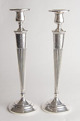 """Gorgeous pair tapered VINTAGE STERLING SILVER CANDLESTICKS 12"""" Tall Elfers"""