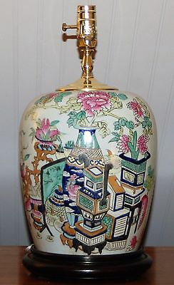 Chinese GINGER JAR LAMP Vase Famille Verte Rose Precious Objects Treasures China