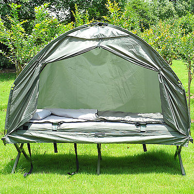 1 Person Foldable Bag Tent w/ Sleeping Bag Outdoor Hiking Camp Camping Bed Cot