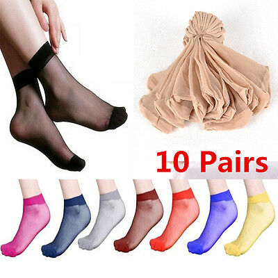 Women's ultrathin transparent Silk Socks Elastic Nylon Skin Short Socks 10 pairs