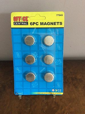 6 Pcs Very Strong Magnet Round Buttons Discs 20mm X 7mm.    (0302)