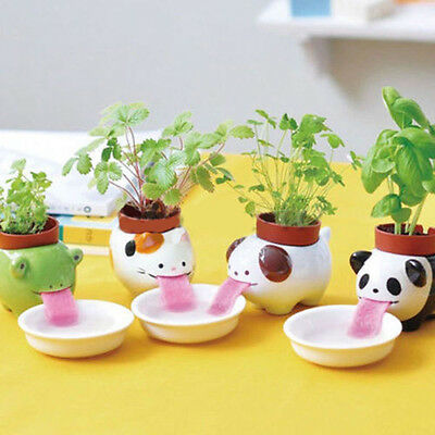 Cute Ceramic Cultivation Peropon Drinking Animal Tougue Self Watering Planter TR
