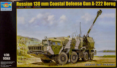 Russian 130 mm Coastal Defense Gun A-222 Bereg 1:35 Model Kit Trumpeter 01036