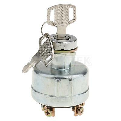 Silver 6 Terminals Ignition Switch Lock with 2 Start Key Universal Fit