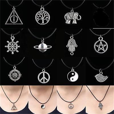 Tibetan Silver Choker Charm Pendant Necklace Retro Hippy Black With Leather Cord