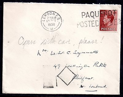 GB KEVIII 1936 cover posted at sea 'Paquebot' WS3612