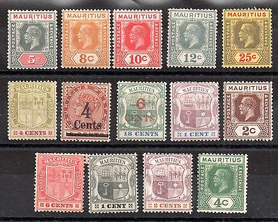 Mauritius QV-KGV unchecked mint MH collection (14V) WS3605