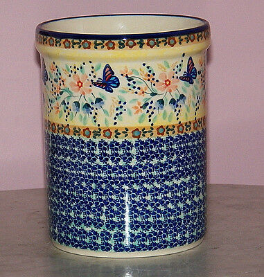 Genuine Polish Pottery UNIKAT Kitchen Utensil Jar! Butterfly Summer Pattern!