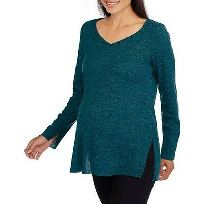 Inspire Maternity Long Sleeve Ribbed Vneck Top, Tuscan Teal, Medium