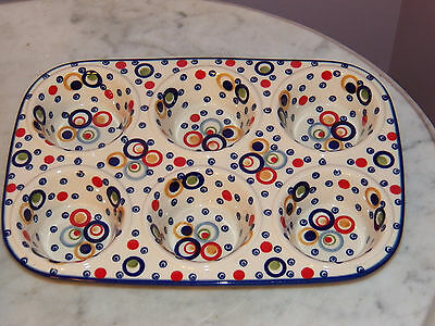 Genuine Hand Made Polish Pottery Muffin Pan! Happy Happy Pattern!