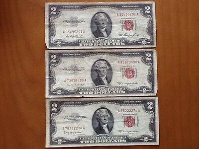 Lot of 3 Jefferson Red Seal $2 Bills U.S. Bank Notes Circulated