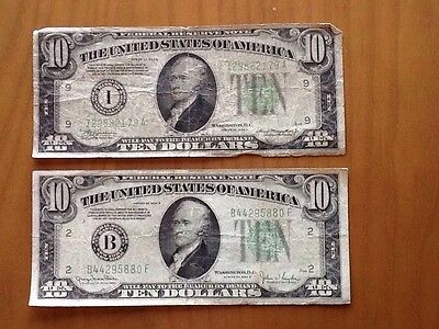 Lot of 2 1934A & 1934D Green Seal $10 U.S. Bank Notes Old Currency