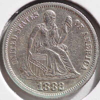 1882 10C Liberty Seated Dime Type Coin Brilliant Uncirculated BU
