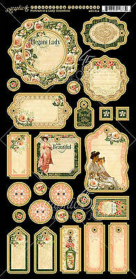 Graphic45 PORTRAIT OF A LADY (27) PCS Journaling Chipboard scrapbooking