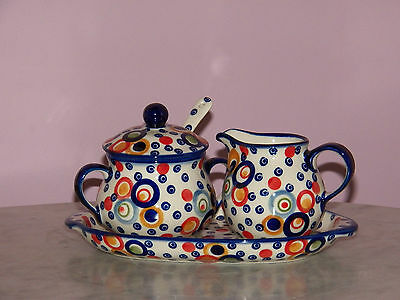 Genuine Hand Made Polish Pottery Cream And Sugar 4 PC Set! Happy Happy Pattern!