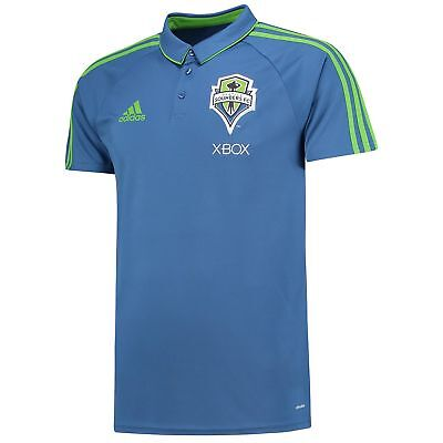 adidas Mens Gents Football Seattle Sounders Coaches Polo Shirt Top - Blue
