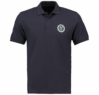 Club Branded Mens Gents Football New York City FC Polo Shirt Jersey Top - Navy