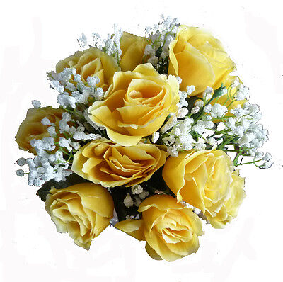 Deep Yellow Open Rose & White Gyp Faux Silk Bride Or Bridesmaid Posy (W026)