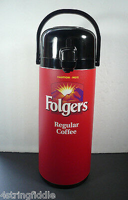 Folgers 10 cup Coffee Pump Dispenser Thermos Hot or Cold Beverages Swivel Base