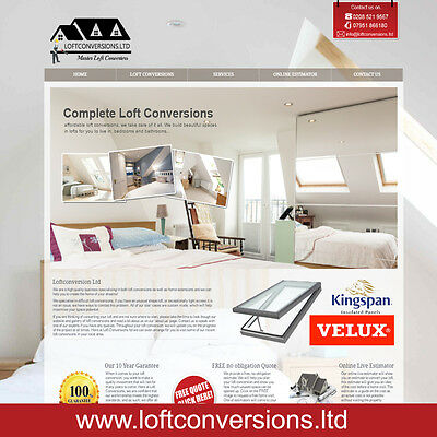 Loft conversions website with - online estimator - built for you/your business
