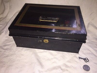 Antique Metal Cash Box With Working Lock And Key