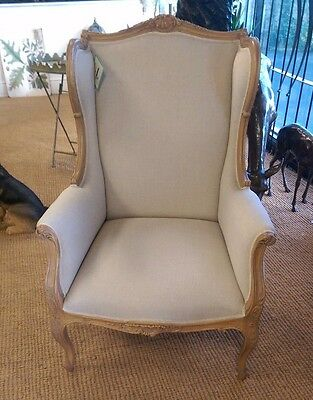 Elegant French Carved Oak Chair Upholstered in Grey Linen