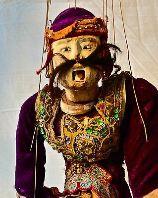 Antique Burmese Stage Marionette Carved Wood Female or Male Dressed As Female
