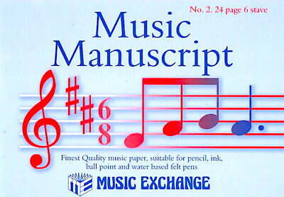 Manuscript Paper Music Exchange No. 2. 24 page 6 Book Quality Notation Gift