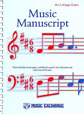 Manuscript Paper Quality Music Exchange No. 3. 64 page 12 Stave Spiral Notation