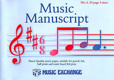 Music Manuscript Paper Quality Music Exchange No. 6 24 page 4 stave book Notes