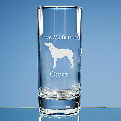 Brittany Dog Lover Gift Personalised Hand Engraved Highball Glass Gift
