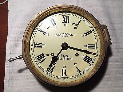 VINTAGE EMORY AND DOUGLAS Co. Ltd. 8 DAY BELL STRIKE SHIPS CLOCK BRASS MARITIME