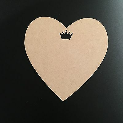 Wooden MDF Heart Shape with Crown