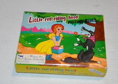 LITTLE RED RIDING HOOD Picture Cubes Wooden cubes 1980s