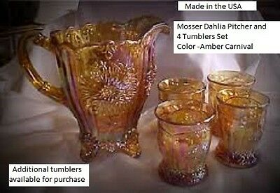 Mosser Glass DAHLIA AMBER CARNIVAL Pitcher & 4 Tumblers Set- FACTORY SHIPPING