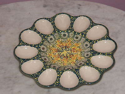 Genuine UNIKAT Hand Made Polish Pottery Egg Tray! Miss Daisy Pattern!