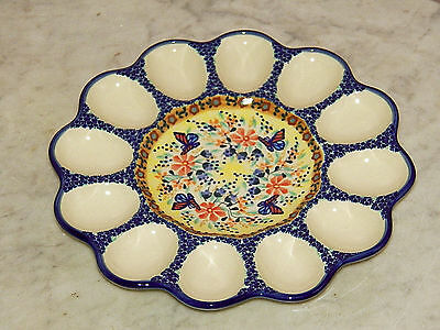 Genuine UNIKAT Hand Made Polish Pottery Egg Tray! Butterfly Summer Pattern!