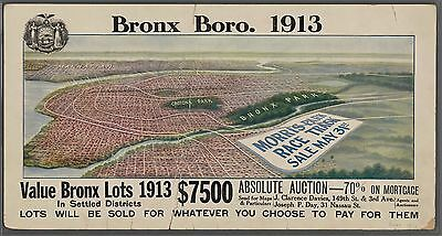 1913 Bird's Eye View Bronx Ny Morris Park Sale Race Track Copy Poster Map 30X36