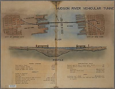 1922 Schematic Blue Print Drawing Of Holland Tunnel - Manhattan To New Jersey